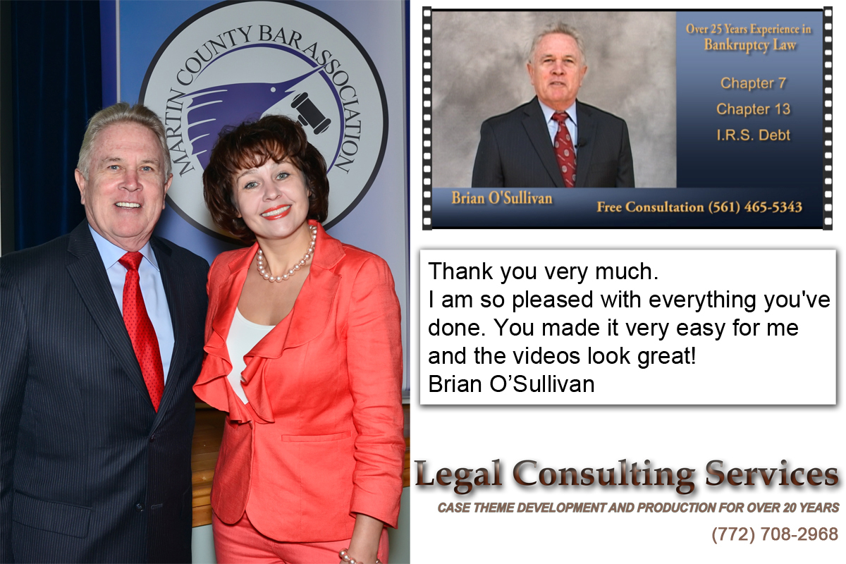 Legal Consulting Services: Legal Video Production on the Treasure Coast; Mediation and Trial Presentations, Exhibits, Technical Support, Settlement Documentaries Production, Video Depositions and Statements, Video Inspection, Day In The Life Legal Video in Stuart, Port St. Lucie, Fort Pierce, Vero Beach, Okeechobee, and Palm Beach, Florida
