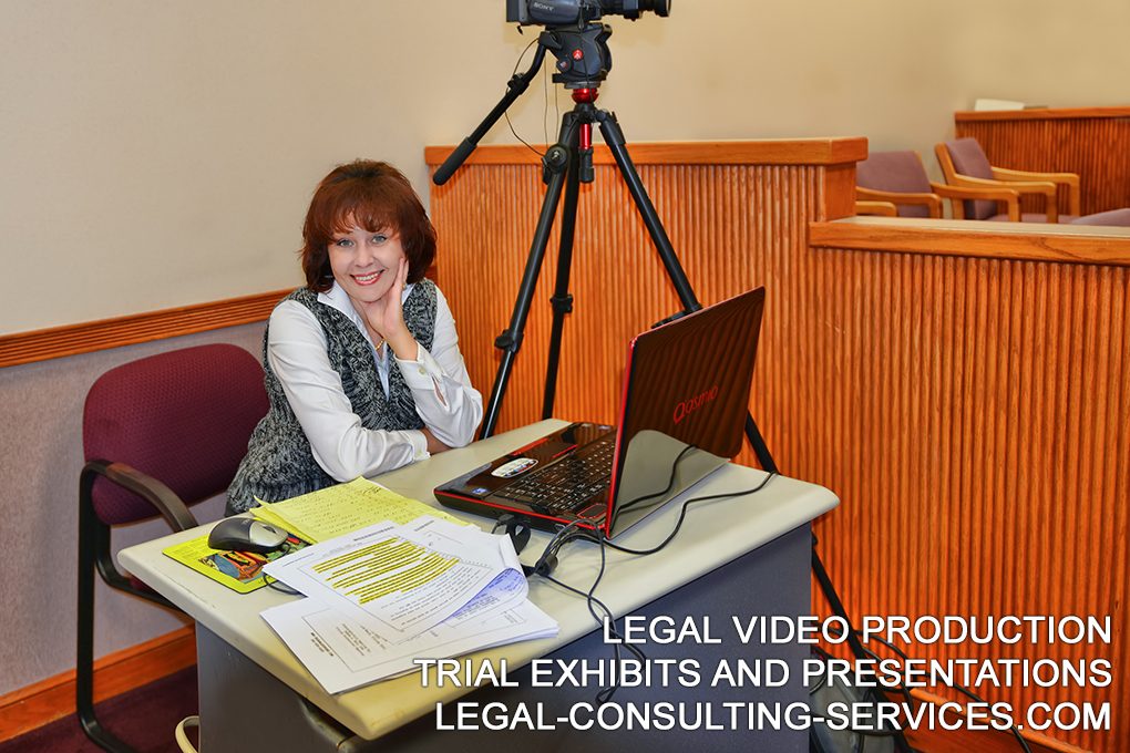 Legal Video Production. Videographer. Video Depositions. Video Deposition Editing. Trial Exhibits and Presentations.